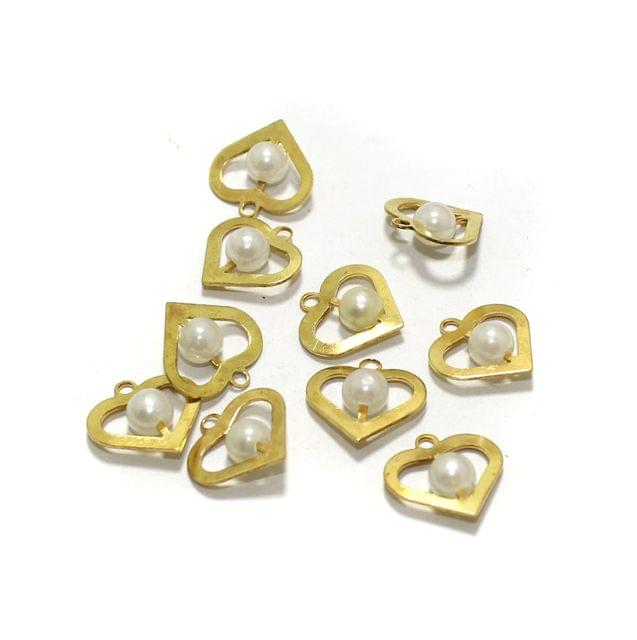 10 Pcs Heart Earrings Components Pearl Charms Size 15x15mm