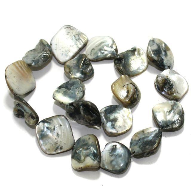 Grey Shell Beads String 18-22 mm