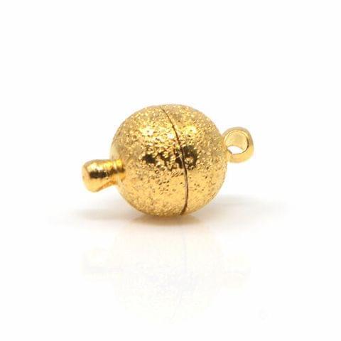 Brushed Golden 5 Pcs Magnetic Clasps , Size 10mm