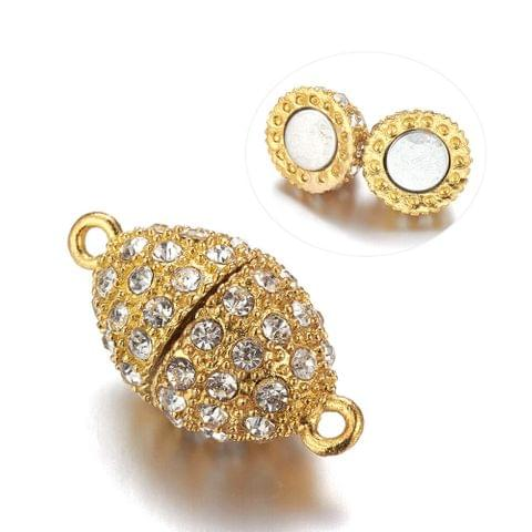 5 Pcs AD Stone Magnetic Clasps Golden, Size 18x12mm