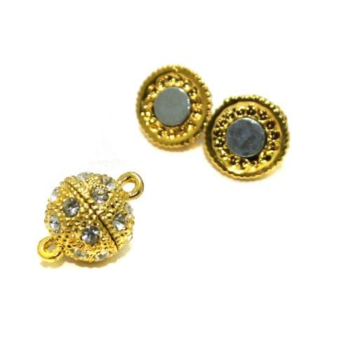 5 Pcs AD Stone Magnetic Clasps Golden, Size 12mm