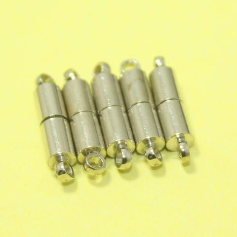 Silver 5 Pcs Tube Magnetic Clasps , Size 12x4mm