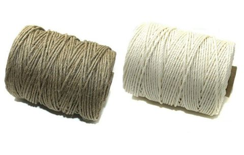 2 Spools Hemp Twine Cord Natural and White 2mm Combo