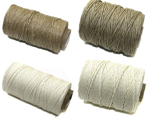4 Spools Hemp Twine Cord Natural and White and 1mm and 2mmCombo