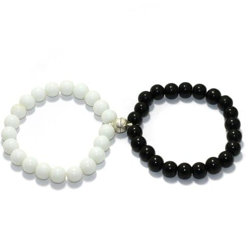 Couples Matching Bracelets Magnetic His Hers Bracelets Beaded Bracelet With Magnetic Bells Vows Of Eternal Love Charms For Women Men