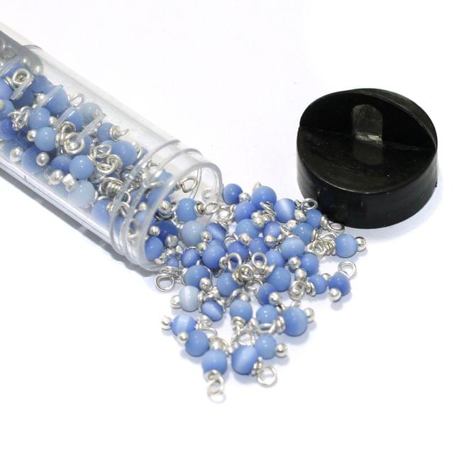 200 Pcs 4mm Sky Blue Cats Eye Loreal Beads Tube Silver Plated