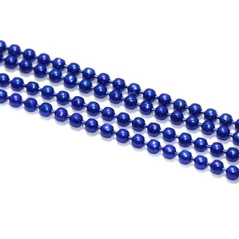 5 Mtrs, 2mm Aluminium Ball Chain Blue