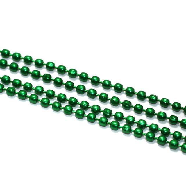 5 Mtrs, 2mm Aluminium Ball Chain Green
