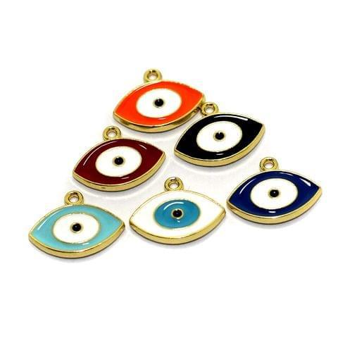 6 Pcs Meenakari Brass Evil Eye Charms, 10x16mm