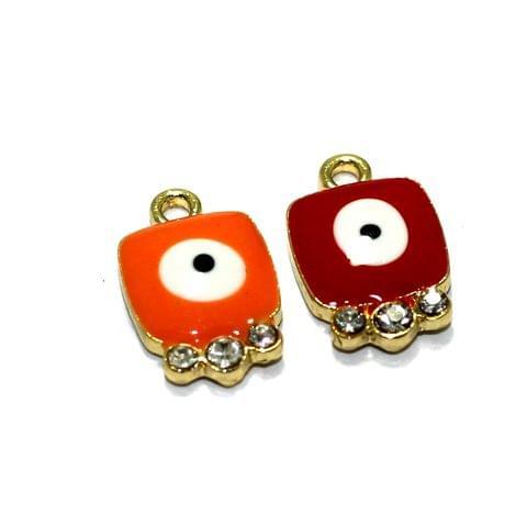 2 Pcs Meenakari Brass Evil Eye Charms, 13x10mm