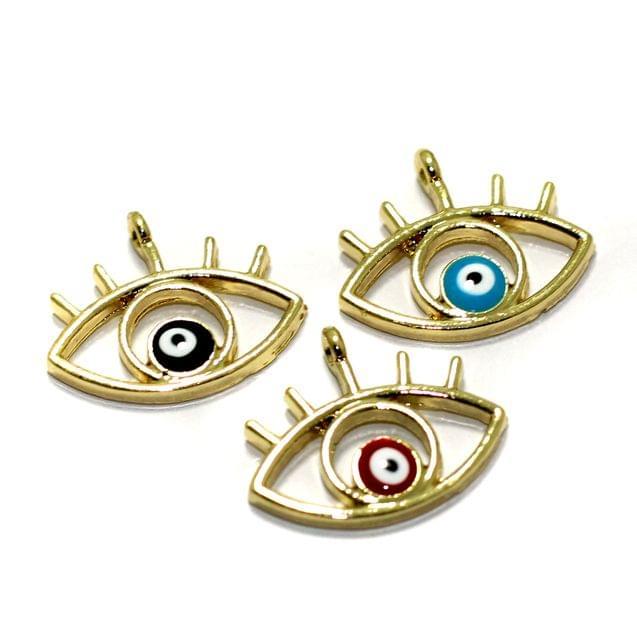 3 Pcs Meenakari Brass Evil Eye Charms 21x13mm