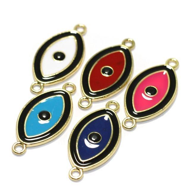 5 Pcs Meenakari Brass Evil Eye Charms Connector 24x15mm