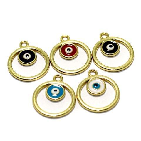 5 Pcs Meenakari Brass Evil Eye Charms Connector 20mm