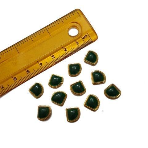 10mm, 20 pcs, Green Glass Stones Cabochons