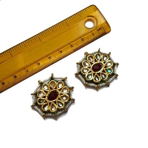 33x35mm, 2 pcs, Red Stone Kundan Spacers