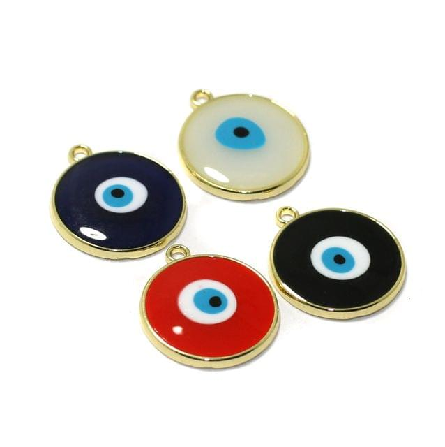 4 Pcs Meenakari Brass Evil Eye Charms Connector 20mm