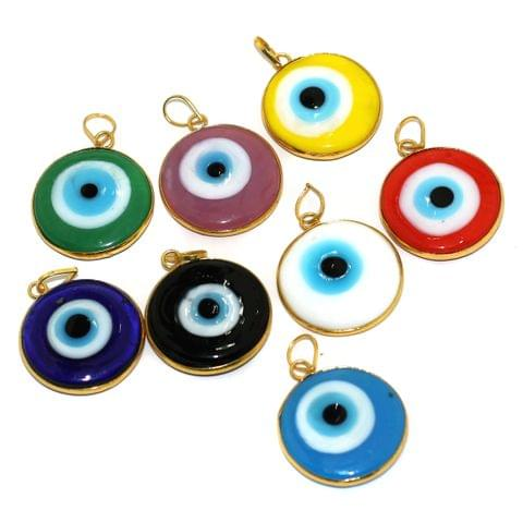 8 Pcs Glass Evil Eye Pendants 25mm