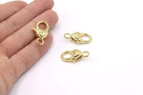 10 Pcs Gold Finish Large Heart Lobster Clasps 30X15mm
