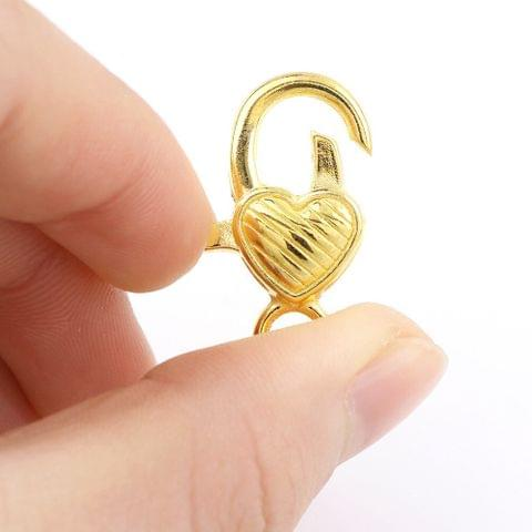10 Pcs Gold Finish Large Heart Lobster Clasps 26X11mm