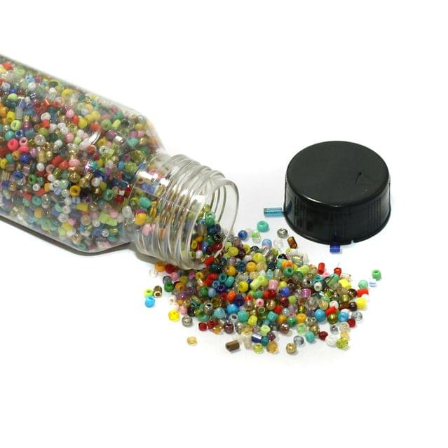 150 Gms Multicolored Seed Beads Bottle , Size 11/0