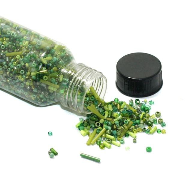 150 Gms Mix Green Seed Beads Bottle, Size 11/0