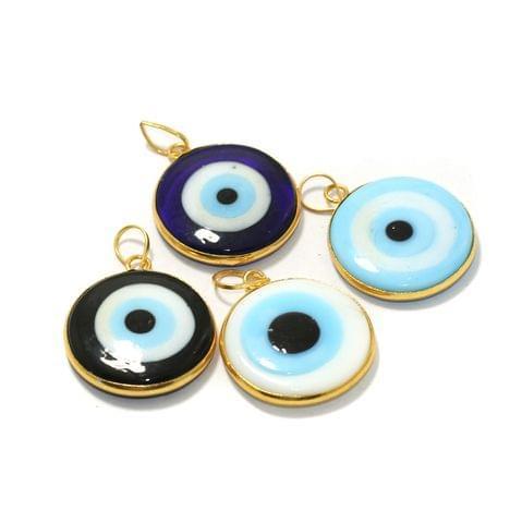 4 Pcs Glass Evil Eye Pendants 25mm