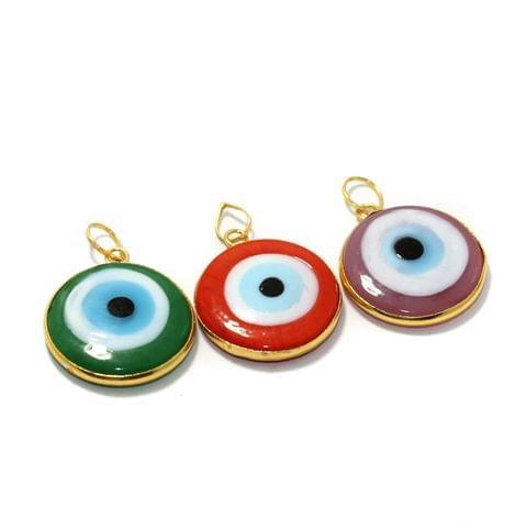 3 Pcs Glass Evil Eye Pendants 25mm
