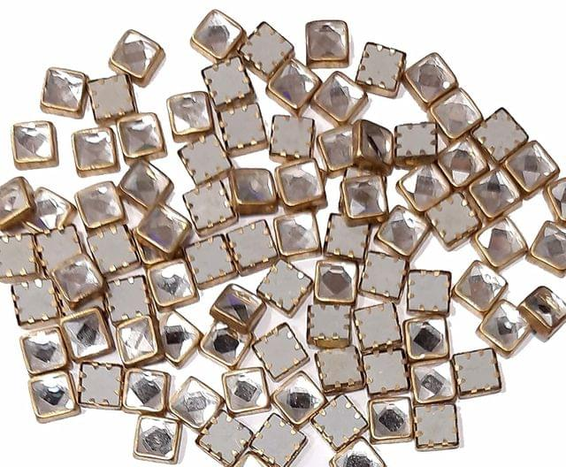 9mm Kundans Square Shape for Embroidery, Craft Pack of 100 GMS, Approx 215 Pieces