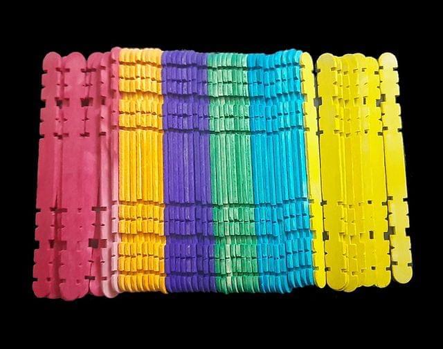Multicolor Zigzag Wooden Sticks 11.4cm x 1cm Pack of 6 x 50 Sticks ,  300 Pcs.