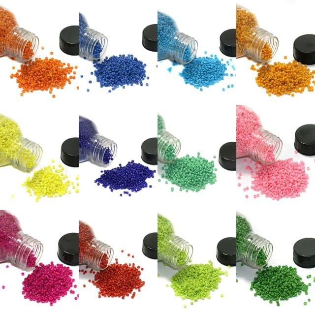 12 Colors Seed Beads Bottles Combo Multicolor, Size 11/0