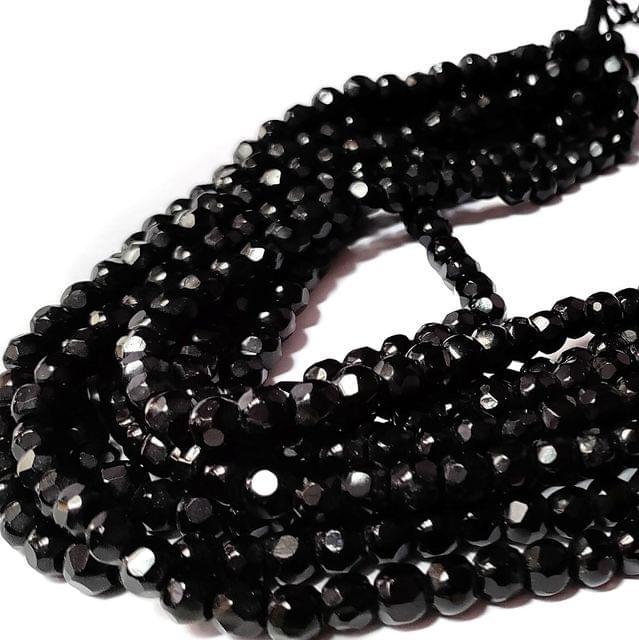 Black 5 Stings Hand Made Spherical Crystal Beads 6mm
