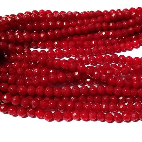 Red Opaque 5 Stings Hand Made Spherical Crystal Beads 6mm