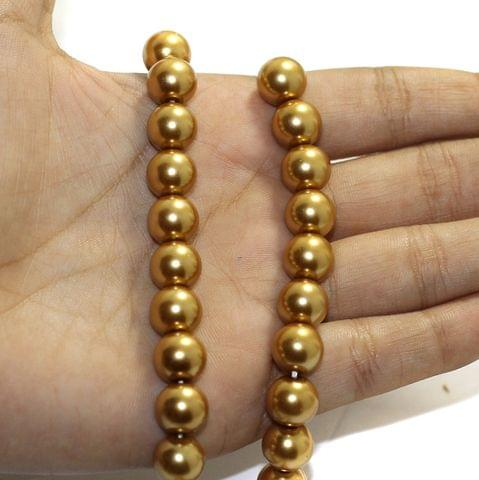 1 String Faux Pearl Round Beads Light Gold 10mm