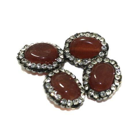 4 Pcs Gemstone CZ Beads Topaz Oval 16x12mm