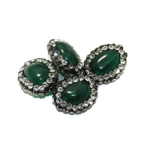 4 Pcs Gemstone CZ Beads Green Oval 16x12mm