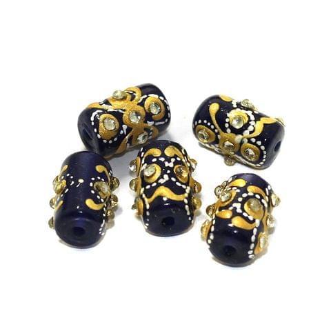 5 Pcs Handpainted Kundan Work Tube Beads Blue 16x10mm