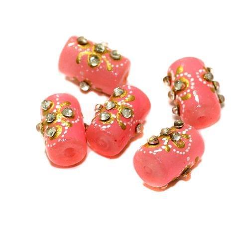 5 Pcs Handpainted Kundan Work Tube Beads Pink 16x10mm