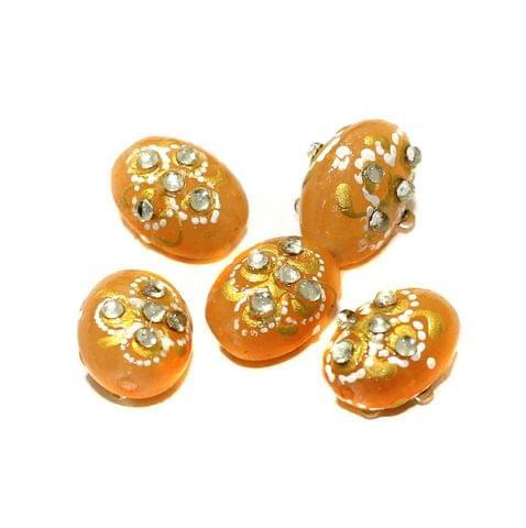 5 Pcs Handpainted Kundan Work Oval Beads 17x12mm