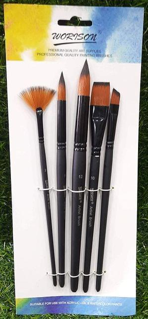 Worison Paint Brushes Flat and Round Tip Artist Paint Brush (Set of 5)