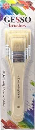 Gesso Paint Brushes  for Oil Paints Varnishes Size 2, 3, 4 (Set of 3)