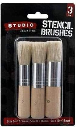 3Pce Stencil Brushes Set, Paint Brush Size 6=13.5mm,Size 8=16mm,Size10=18mm