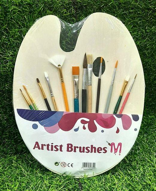 Artist Brushes with Wooden Pallette Painting Round and Flat Brushes (Pack of 12 Pcs)