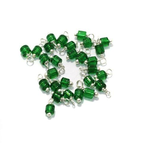 100 Pcs, 4mm Glass Loreal Beads Green Silver Plated