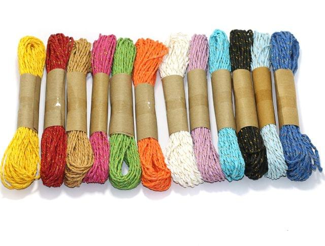 12 Colorful DIY Paper Rope Threads 2mm