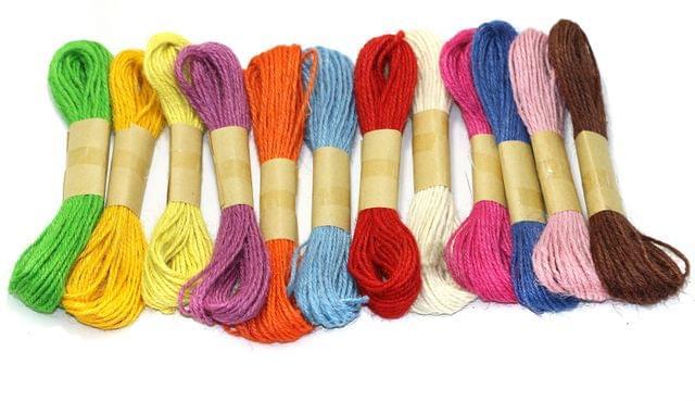 12 Multicolored Natural Jute Thread Twine Cord 2mm