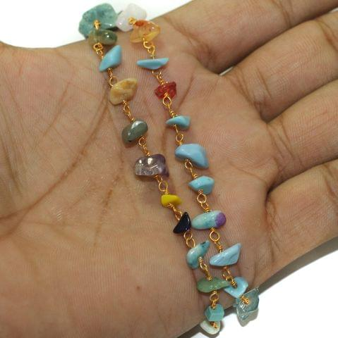 5 Mtrs Multicolor Stone Uncut Chips Beaded Chain
