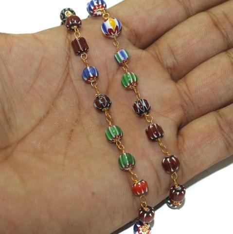 5 Mtrs Multicolor Chevron Beaded Chain 6-8mm