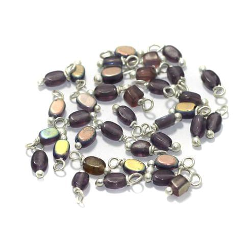 240 Pcs, 5mm Glass Loreal Beads Purple Silver Plated