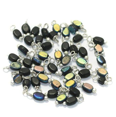 240 Pcs, 5mm Glass Loreal Beads Black Silver Plated