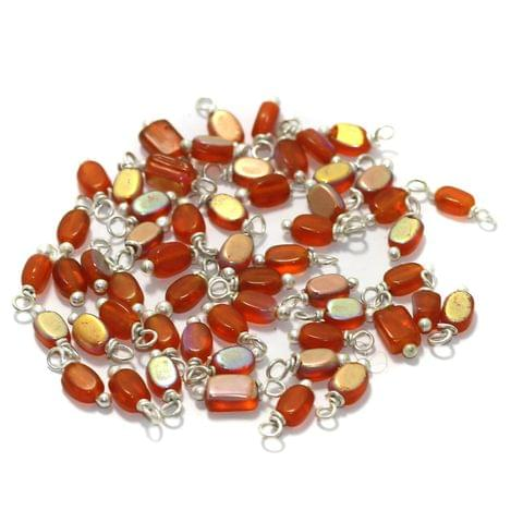 240 Pcs, 5mm Glass Loreal Beads Orange Silver Plated